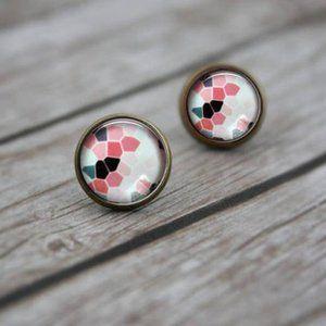 3/$20 🌵 Abstract Print Stud Bronze Earrings NEW
